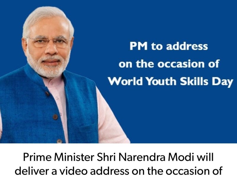 PM Modi addresses World Youth Skills Day image Via Twitter