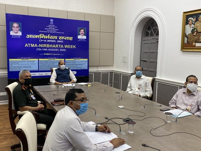 Defence Minister Rajnath Singh attended the 'Atmanirbhrata Saptah' celebrations via video