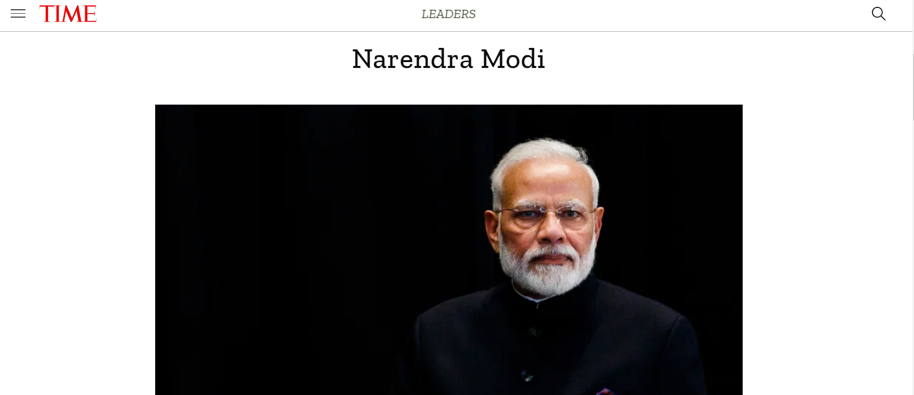 Prime Minister Narendra Modi is on TIME's list of the 100 most influential people of 2020