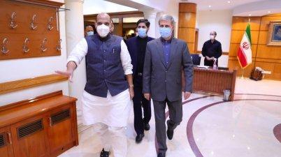 Defence Minister Rajnath Singh meets Iranian Defence Minister Brigadier General Amir Hatami