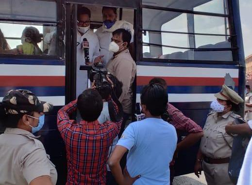 Congress MP P L Punia and other congress party workers detained