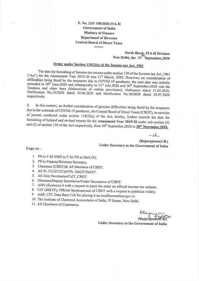 Deadline to file ITR for 2020 extended to 30 Nov