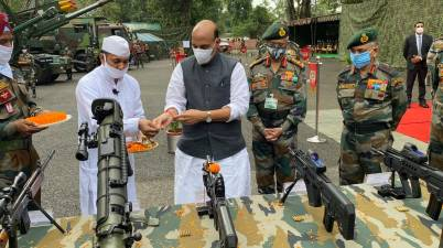 Rajnath performs 'Shastra Puja' at key military base in Darjeeling district of WB