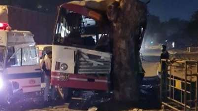 12 people were injured as UP Roadways bus crashed into a tree in Delhi's New Friends Colony