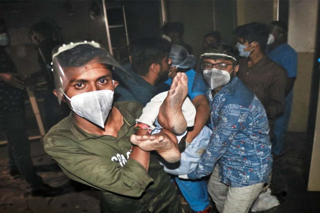 Five killed, 6 others suffer burn injuries after fire broke out in the ICU of Uday Shivanand Covid Hospital