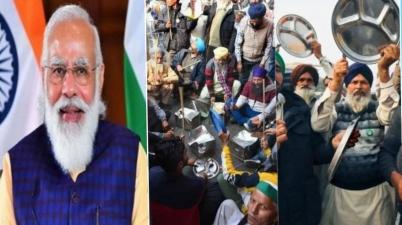"Protesting Farmers Bang Thalis As PM Modi Addresses ""Mann Ki Baat"""