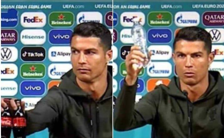 Cristiano Ronaldo removes Coca Cola bottles at PC