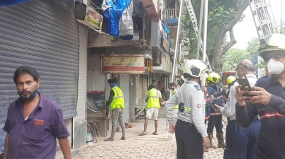 portion of Mumbai building collapses