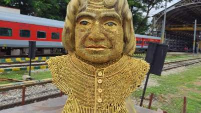 The most creative tribute to the Missile Man & former President of India, Dr.A.P.J.Abdul Kalam by Yesvantpur Coaching Depot in SWR.