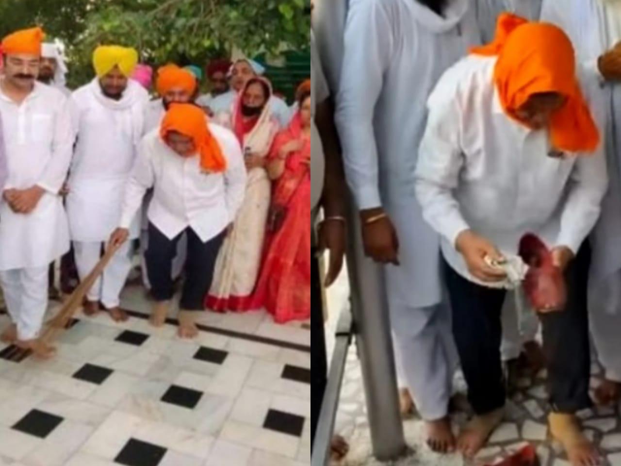 'Panj Pyare' remark: Harish Rawat Wipes shoes, sweeps gurdwara