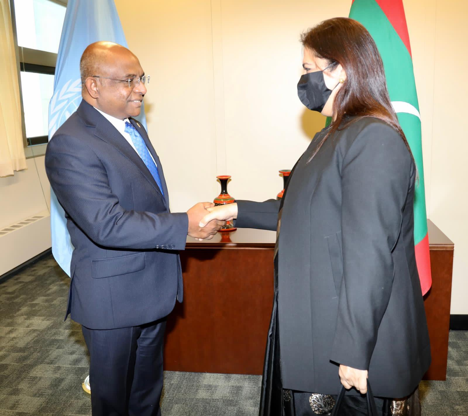 Minister of State for External Affairs, Meenakashi Lekhi meets President elect of 76th UNGA, Abdulla Shahid in New York,